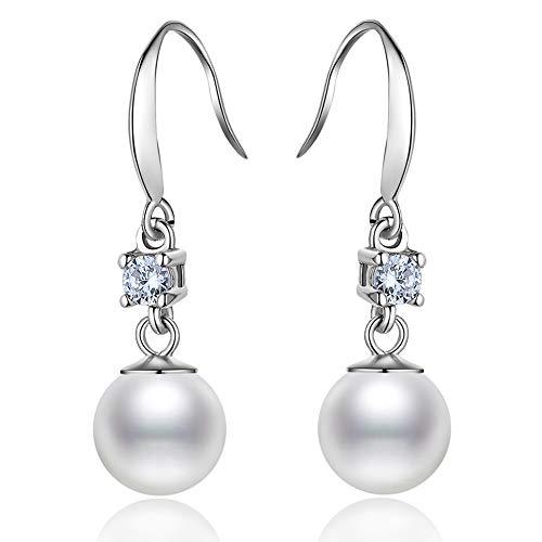 J.Memi's Perle Ohrringe Zirkonia 925 Sterling Silber Elegantes Temperament Schmuck Geschenk Braut Jubiläum Hochzeit Accessoires,Silver