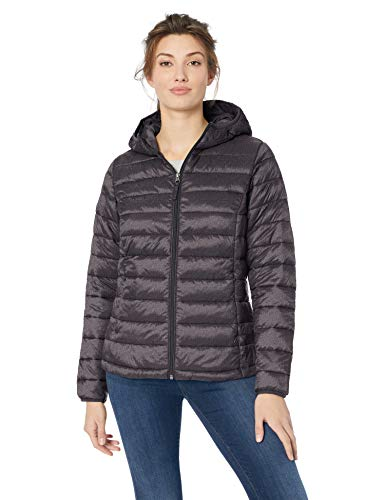 Amazon Essentials Women's Lightweight Long-Sleeve Full-Zip Water-Resistant Packable Hooded Puffer Jacket, Charcoal Heather, Medium