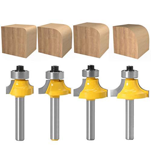 Baorder 4 piezas 6 mm vástago redondo sobre fresadora, fresas redondeadas, juego de fresas estándar para carpintería, herramientas de carburo de tungsteno