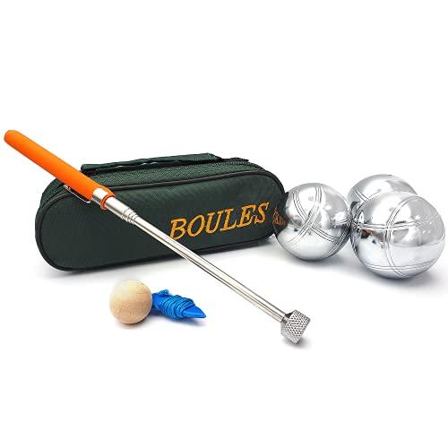 EUROXANTY® Boules | 3 Bocciakugeln aus chromiertem Stahl | Pétanque-Set mit Etui | metallisches Boule-Spiel