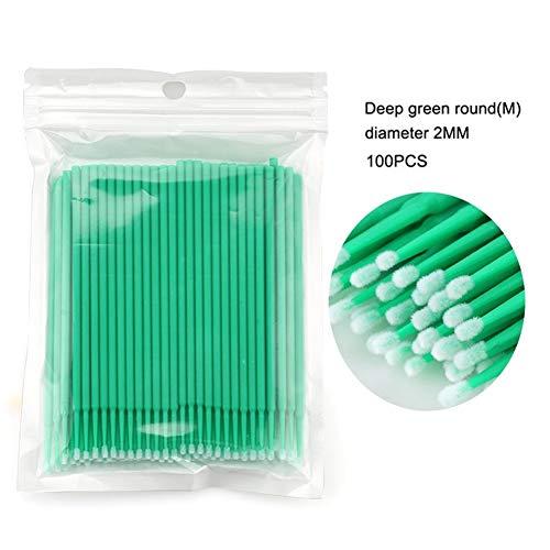 YUELANG 100pcs Jetable Coloré Coton Cils Extension Nettoyage Swab Cosmétiques Outil (Color : Green)