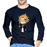 Denki Kaminari - Camiseta de manga larga para hombre, estilo informal, 100% algodón, cuello redondo, manga larga, cómoda, azul marino, M