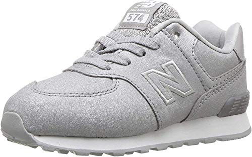 New Balance Girls' 574v1 Sneaker, Silver, 3.5 W US Big Kid