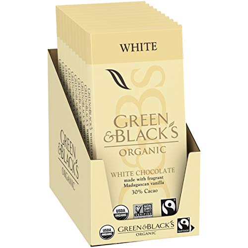 Green amp Black#039s Organic White Chocolate Bar 30% Cacao Valentine#039s Chocolate 10  317 oz Bars