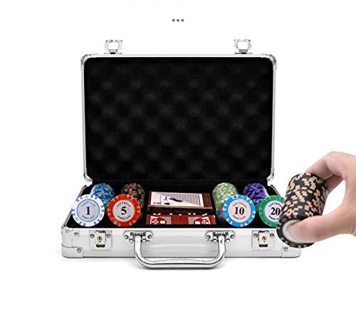 Ouumeis Estuche de póquer portátil Juego de póquer Estuche para fichas póquer Maleta, sin fichas ni póquer, Hecha Aluminio, Estuche Metal fichas póquer,100 Chips