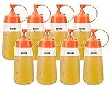 Lawei - Confezione da 8 bottiglie per condimenti da 283,5 g, in plastica, con coperchio e ...