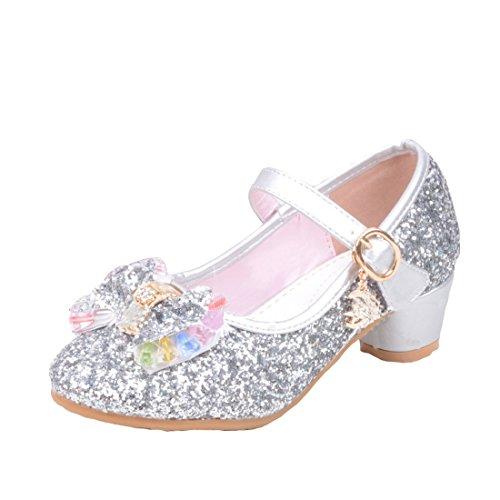 Cool&D Mädchen Sandalen Frozen Schuhe Prinzessin Sandalen Absatz-Schuhe Oxford Sohlen Sandalette mit Glitzerpailletten