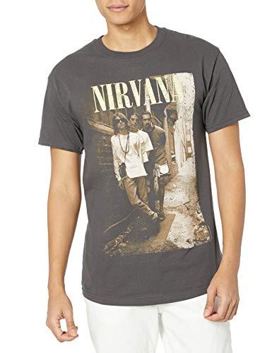 FEA Men's Nirvana Brick Wall Band Photo T-Shirt, Charcoal, X-Large