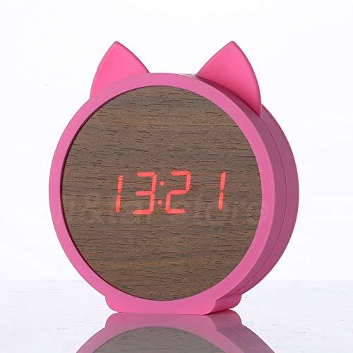 Wandklok LED hout wekker Kid schattige kat Silicone tafel hout elektronische klok cartoon kalender perfectie stembediening Red Red Pink
