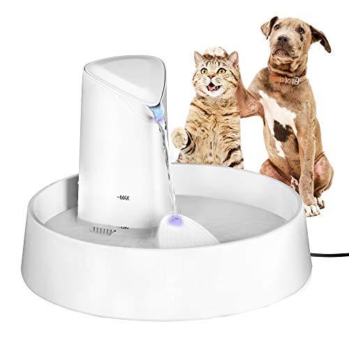 Pecute Haustier Wasserspender Katzenbrunnen, Trinkbrunnen Leise rutschfest für Hunde Katzen Automatisch mit Nachtlicht 2,5L, Einstellbarer Durchfluss