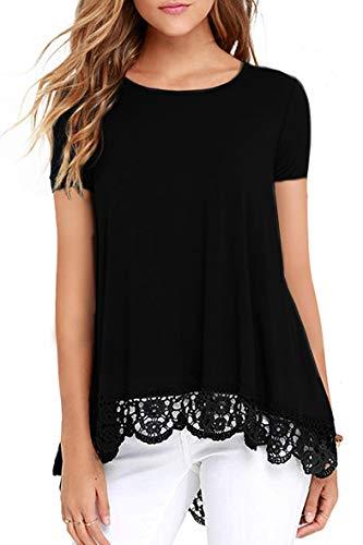 Odosalii Damen Langarm T-Shirt Pullover Rundhals Spitze Tunika Top Asymmetrisch Saum Oberteil Bluse Shirt (S-schwarz, XL)
