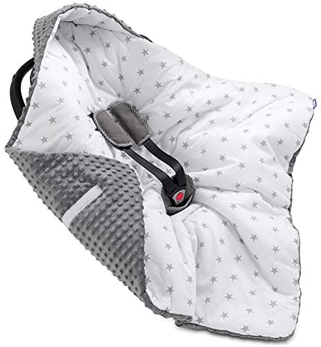 Jukki® MINKY Einschlagdecke mit Kapuze Babyschale für Kindersitz im Auto oder Kinderwagen, Baby Decke Kuscheldecke, Babydecke ideal für Reisen || 90cm x 90cm