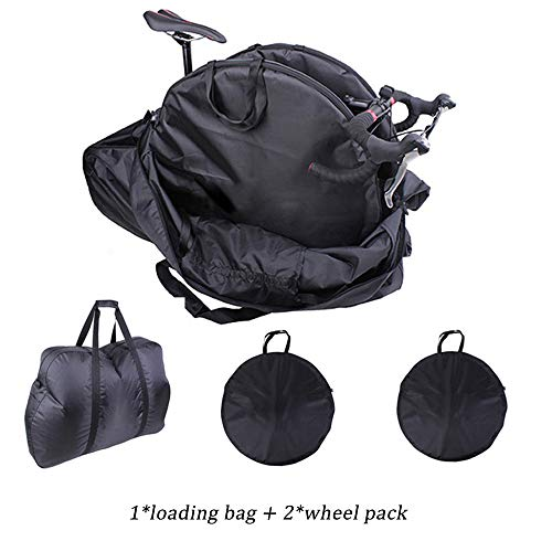 RIYIFER Folding Bike Bag, Thick Bicycle Travel Case 420D Waterproof Nylon Cloth Bag Carrying Case Comes with 2 Wheel Bags for Transport,Air Travel,Black,29in