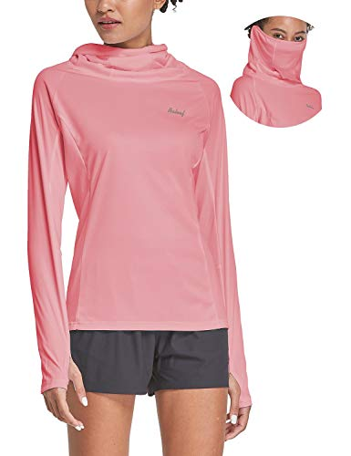 BALEAF Women's Hiking Long Sleeve Shirts with Face Cover Neck Gaiter UPF 50+ Lightweight Quick Dry SPF Fishing Running Hoddie Peach Size L