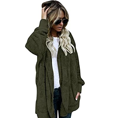 Pocciol Women's Open Front Fuzzy Coat Fleece Loose Hooded Cardigan With Pockets Plus Size