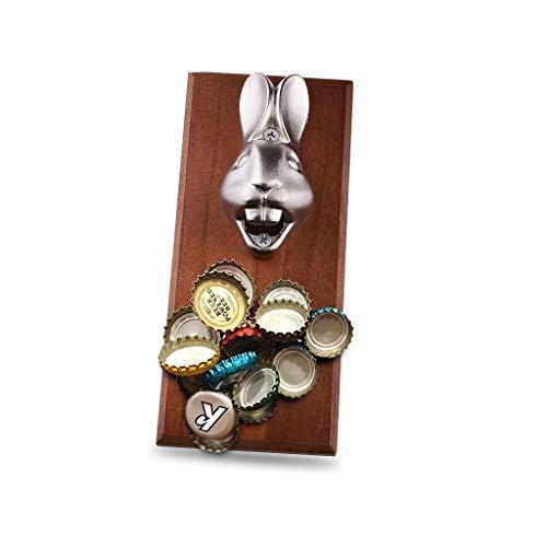 AJZGF Apriscatole a Mano Muro di Birra apribottiglie Appeso, Testa Coniglio di Divertimento, la casa di Metallo Bottiglia Bar Magnete apribottiglie apriscatole Salva-Lavoro