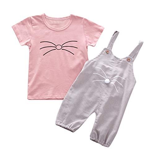 LEXUPE Kleinkind scherzt Baby-Karikatur-Katzen-Druck-T-Shirt + Bodysuit-Spielanzug-Ausstattung(Grau,110)
