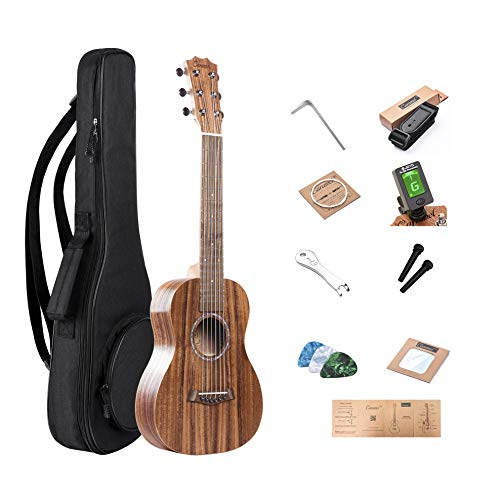 Caramel 6 Strings CB204GA All Solid Acacia Acoustic Ukulele Guitalele with Truss Rod with Aquila Strings, Padded Gig Bag, Strap and Wall hanger