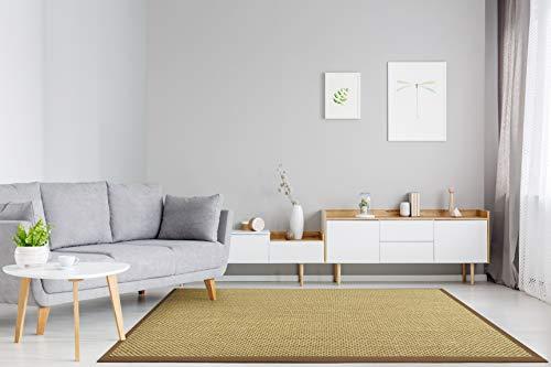 Floordirekt - Alfombra 100% Pura de sisal con Cenefa - Alfombra de salón - Alfombra Natural - Tiger-Eye - en 3 Colores y 2 tamaños, Natur/Cappuccino, 160 x 230 cm