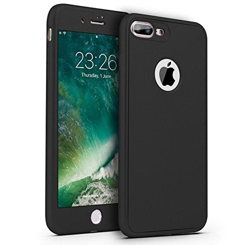 Surakey Cover Compatibile per iPhone 7/iPhone 8 Integrale Silicone Protettiva Cover 360 Gradi Protezione Totale Davanti e Dietro Antiurto TPU Bumper Ultra Sottile Morbida Custodia,Nero