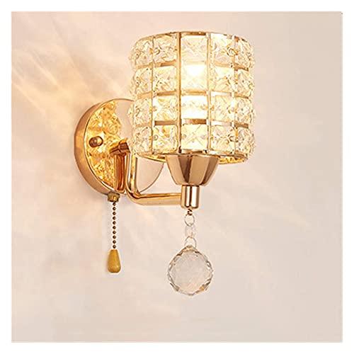 Lámpara de Pared Lámpara de Aplique AC85-265V Interruptor de Cadena de tracción Lámpara de Pared de Cristal Luces Modern Stains Steel Base iluminación lamparas de Pared (Temperatura de Color