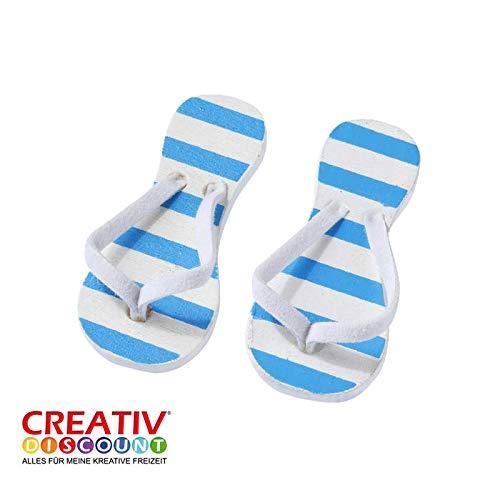 CREATIV DISCOUNT® NEU Miniatur- Flip-Flops, blau gestreift, 2 Paar