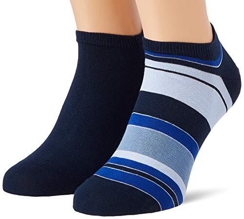 Tommy Hilfiger Mens Color Stripe Men's Sneaker-Trainer (2 Pack) Socks, Navy, 39/42