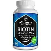 Biotin hochdosiert 10.000 mcg + Selen + Zink für Haarwuchs, Haut & Nägel - Der VERGLEICHSSIEGER* - 365 vegane Tabletten für 1 Jahr, Nahrungsergänzung ohne Zusatzstoffe, Made in Germany