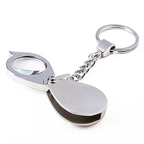 15x Pocket Magnifier Gift Metal Folding Magnifying Glass with Key Chain Jewelry Loupe Lens 20mm for Reading Maps, Labels, Crafts,Coins, Inspection, Low Vision
