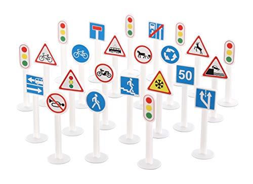 Polesie 64219 - Set di cartelli stradali, confezione da 24 pezzi, multicolore