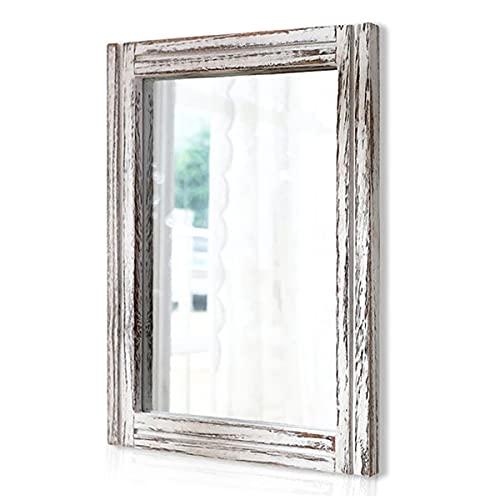 AAZZKANG Espejo de madera con marco rústico espejo de pared rectangular decorativo granja dormitorio baño colgante espejo hogar decoración pared