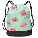 Drawstring Bag For Women Men Cartoon Red Strawberry Mint Green Backpack Sackpack With Shoe Compartment Soccer Basketball Cinch Bag Personalized Candy Sack Party Favors