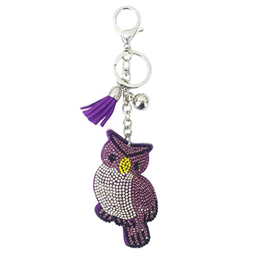 KJHKJH Neuer Innovativer Tierischer Schlüsselanhänger In Eulenform Mit Einem Glasbohrer-Anhänger.-Purple