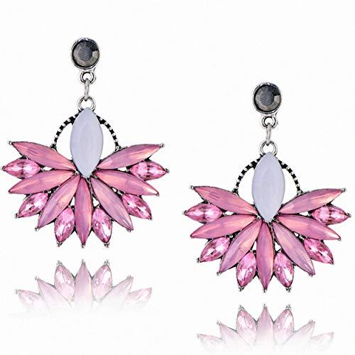 GHJDSFOG Pendientes Pendiente de Cristal Rosa para Mujer de Moda Flor de Cristal Pendientes de declaración Vintage para joyería de Mujer Diseño de Moda Pendientes de Mujer