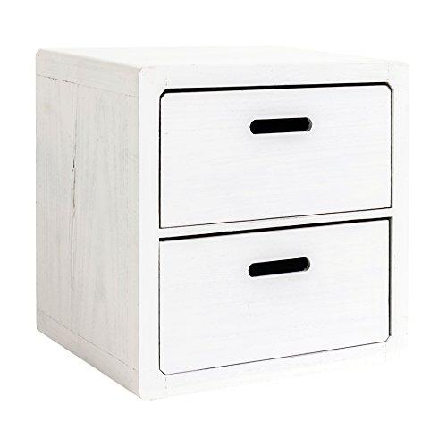 Rebecca Mobili Kommode mit 2 Schubladen für Schlafzimmer, Badschrank, aus Paulownienholz, Weiß, im Shabby-Stil – Maße: 44,5 x 44 x 35 cm (HxLxB) – Art. RE4031