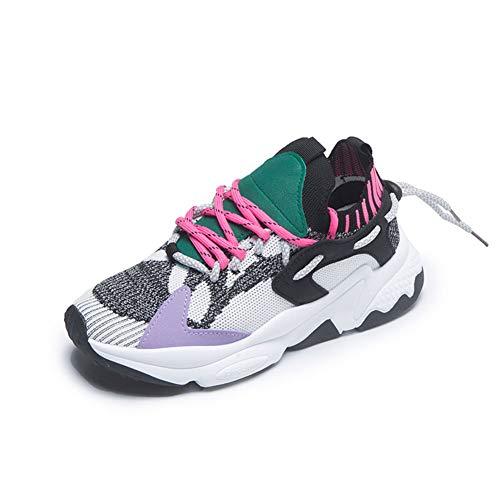 LXVY Herren Damen Lauftrainer Fitnessstudio Fitness Sneaker Sport Joggingschuhe Stoßdämpfende Größe Air Walking Trainer-D-36