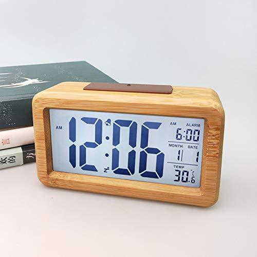 Reloj despertador de mesa de madera maciza Reloj despertador de escritorio sala de estar decoración electrónica reloj de escritorio de oficina