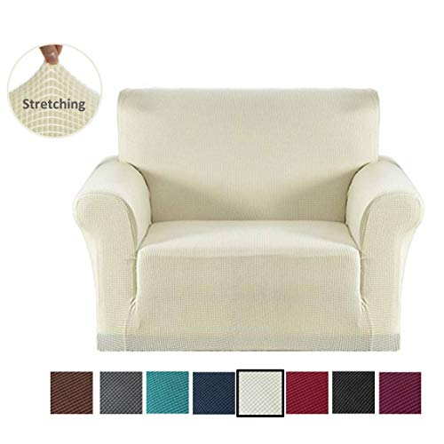 Mejor Guken Linen Fabric Sofa Armchair Covers Anti-Slip Armrest Covers Armchair Slipcover Protector for Recliner Sofa with 2 Pockets for Set of 2 Pieces Cream White crítica 2020