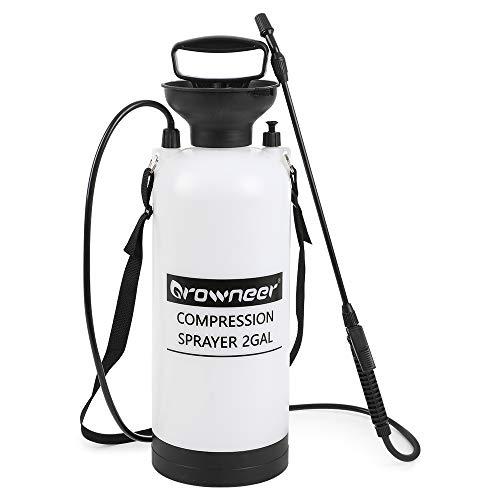 GROWNEER 2 Gallon Portable Pump Pressure Sprayer with Pressure Relief Valve and Adjustable Shoulder Strap in Lawn, Yard, Garden, Greenhouse, White