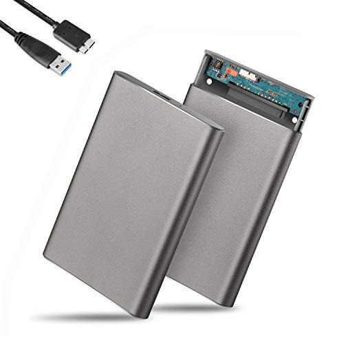 """GeekerChip Case Esterno per Disco Rigido 2.5"""",USB 3.0 HDD SSD Case Esterno in Metallo,HHD Case 7,5 mm per SATA I/II/III Hard Disk con USB 3.0 Cavo,Supporto UASP(Grigio)"""