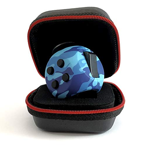 PILPOC theFube Fidget Cube - Premium Quality Fidget Cube Ball with Exclusive Protective Case, Stress Relief Toy (Camouflage Blue)