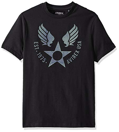 Avirex Men's Classic Wingstar Print Tee, Jet Black, L