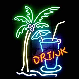 """XPGOODUSA Drink Coffee Neon Sign- 17""""×13"""" for Home Bedroom Garage Decor Wall Light, Striking Neon Sign for Bar Pub Hotel Man Cave Recreational Game Room (Yellow)"""