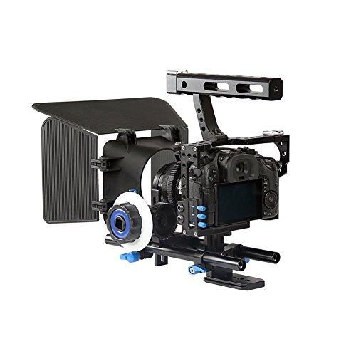 Professional DSLR Rig Camera Cage/Follow Focus/Matte Box Bundle for Sony A6000 A6300 A7 A7S A7SII A7R A7RII, Panasonic DMC-GH4 GH4 GH3, Canon M3 M5 M6, Nikon L340 etc