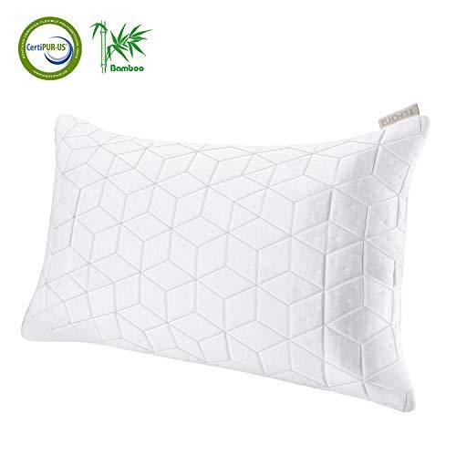 KLAS REMO Kopfkissen Memory Kissen weich Nackenkissen Baumwolle Schlafkissen waschbar Mikrofaser Pillow großes Sofakissen aus Bambusfasern mit Reißverschluss, Memory-Schaum und Kissenbezug