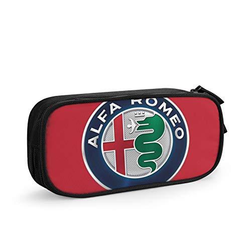Alfa Romeo - Estuche para lápices de gran capacidad, doble cremallera, para oficina, organizador de bolígrafos, bolsa de papelería, bolsa de cosméticos con compartimentos para niñas, niños y adultos