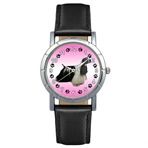 Timest - American Cocker Spaniel - Hunde Motiv Damenuhr mit Lederarmband in schwarz Rund Analog Quarz SAS0226