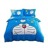 JYHTK Juego De Cama Reversible Beaver/Franela Doraemon Fundas Nordicas 200x230 Cm 48x70cm Ropa De Edredones Nordicos Cama 4 Piezas (B)