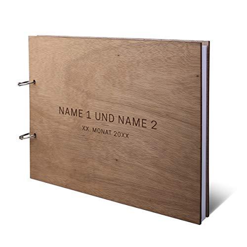 Hochzeit Gästebuch Okoume Holz Gravur individuell Holzcover mit 144 Naturpapier Innenseiten DIN A4 quer 302 x 215 mm - Schlicht