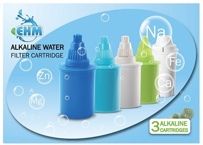 EHM 3 Pack Alkaline Mineral Water Filters Replacement Cartridges (Blue)